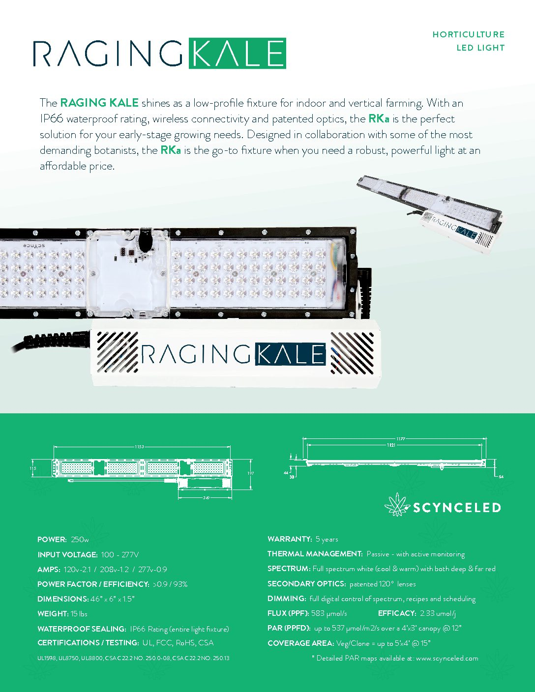 SCYNCE Raging Kale Spec Sheet